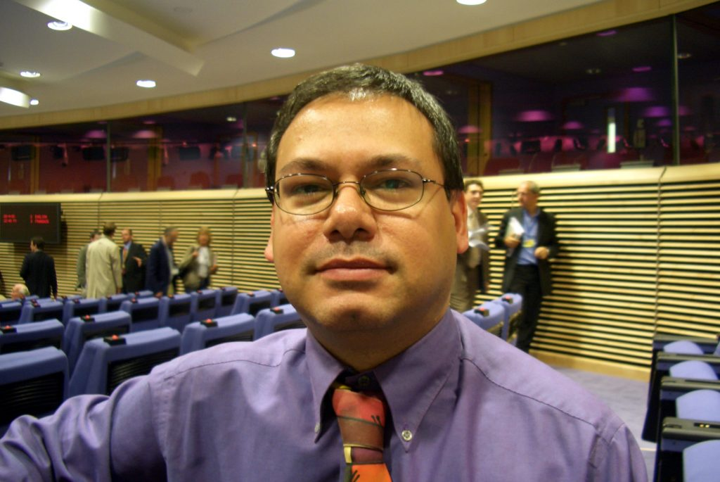 Me at a Midday Briefing in the Berlaymont, Brussels, 2005.
