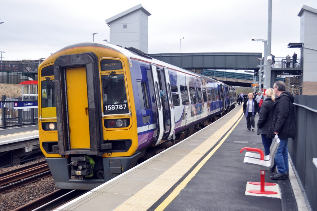 Photo: first Northern train at Low Moor Station.