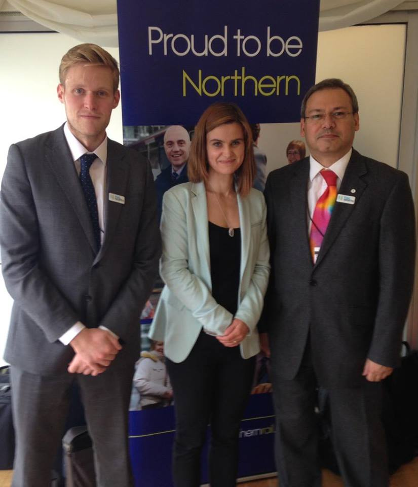Photo: with James, and Jo Cox.