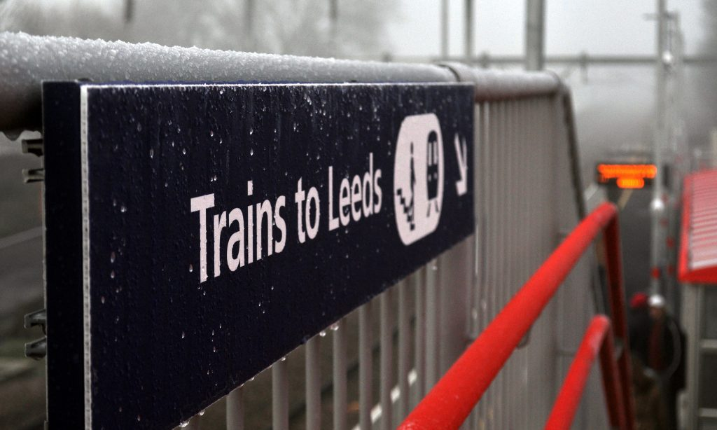 Photo: frosty station sign at Apperley Bridge Station.