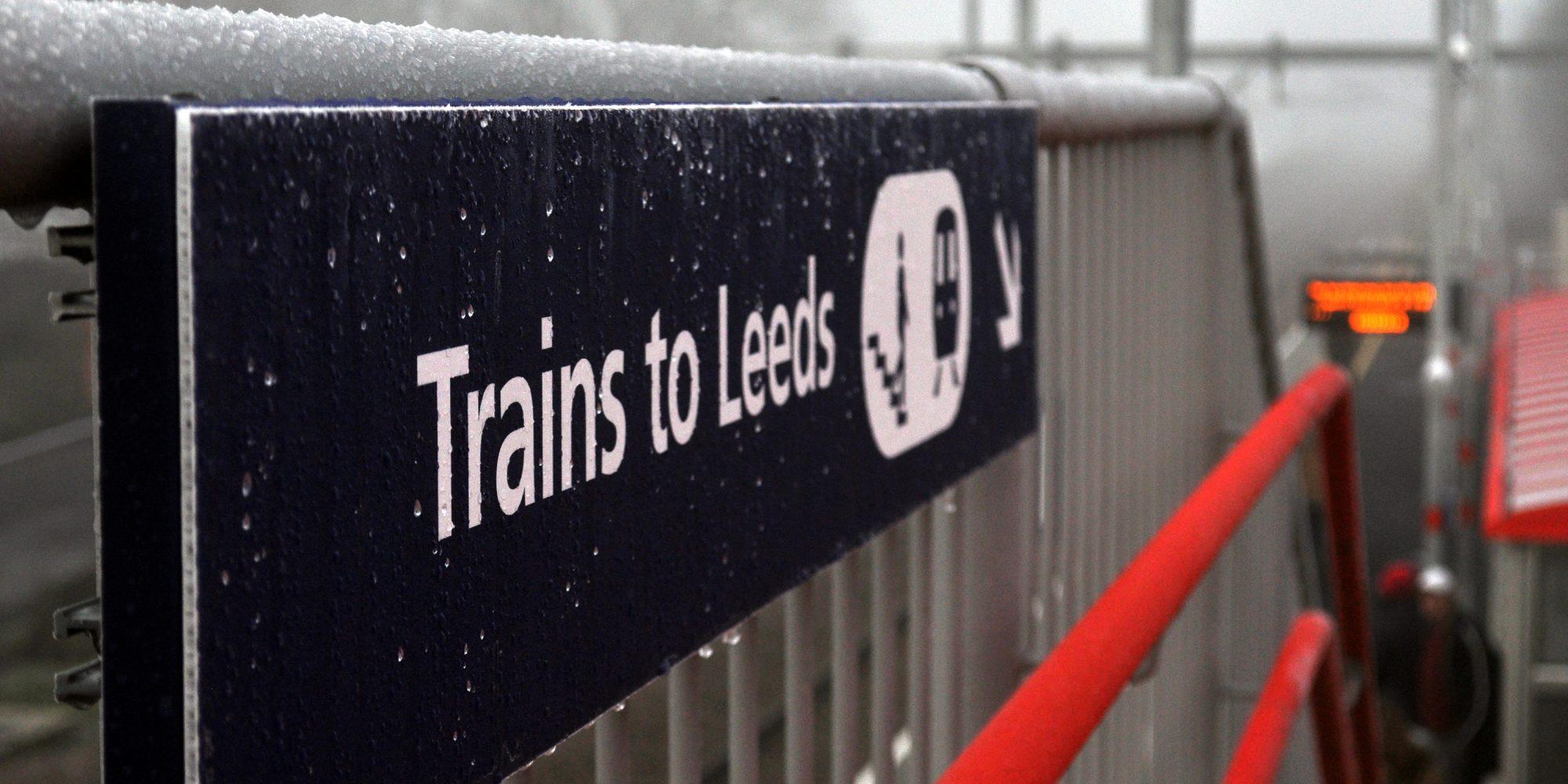 Photo: frosty station sign at Apperley Bridge Station.