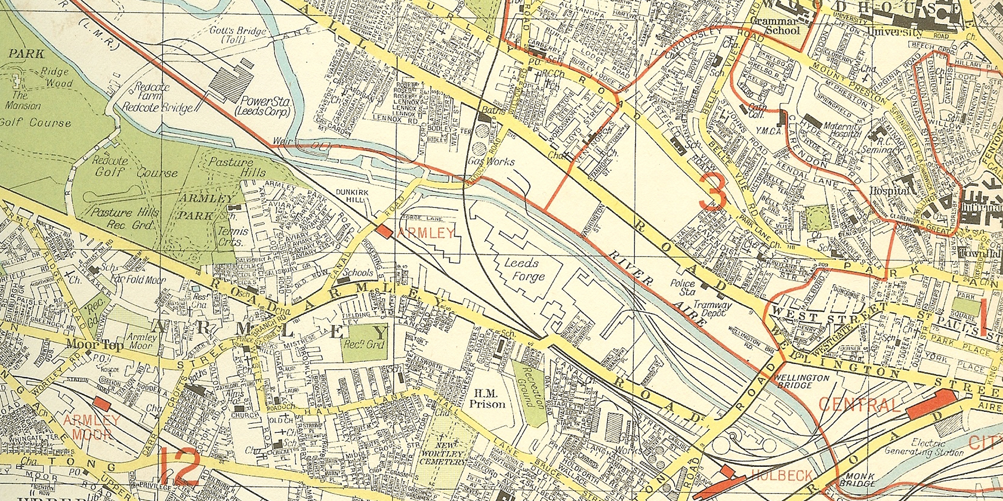 Photo: Part of a map of the western edge of Leeds city centre.