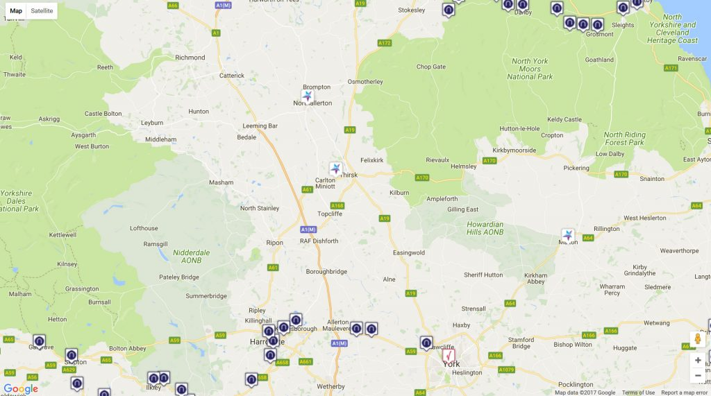 Image: Google map showing only open railway stations in Yorkshire.