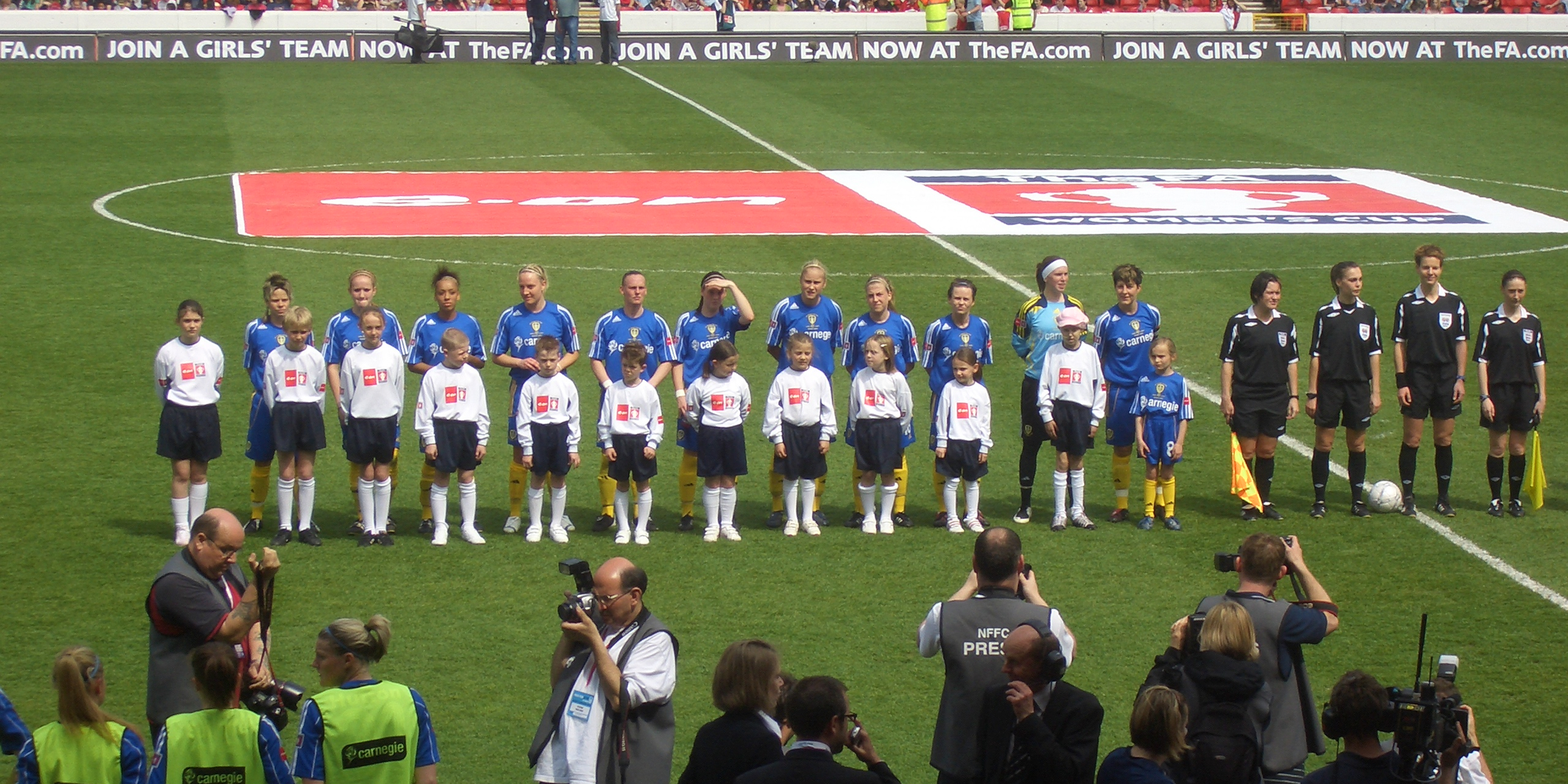 Photo: team line-up at the FA Women's Cup Final 2008